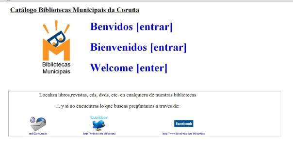 catálogo das Bibliotecas Municipais da Coruña