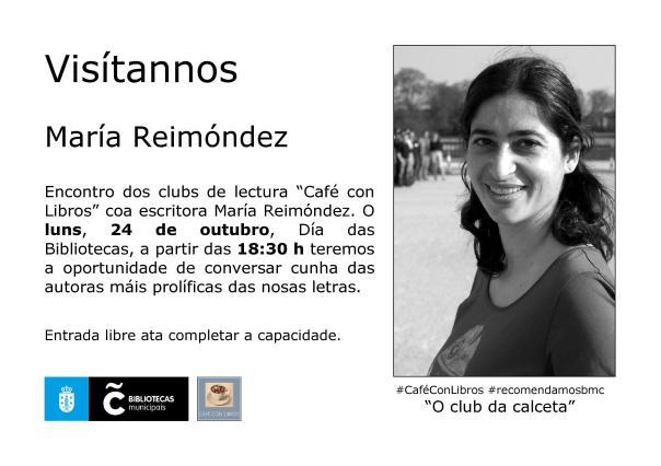Cartel do encontro con María Reimóndez na Biblioteca Os Rosales o 24 de outubro